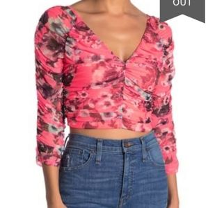 Free Press ruched mesh crop top floral